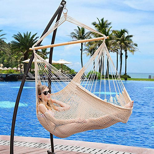 Sundale Outdoor Cotton Rope Hanging Swing Chair with Wood Spreader Bar, Natural