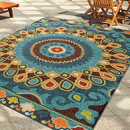 5 ft 2 x 7 ft 6 Medium Indoor Outdoor Color Area Rug, Red Blue Green Orange Yellow Ivory Brown, Modern Floral Casual Fancy Stylish Hippie Hippy Look Perfect Your Home Decor