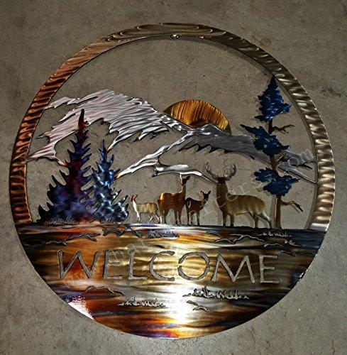 Rustic Wall Art - Circle Welcome Sign - Wildlife Scene-Deer (24 inch diameter)
