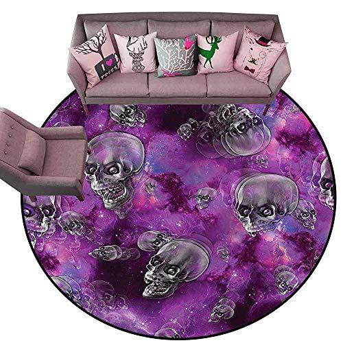 Anti-Slip Toilet Doormat Home Decor Skull,Halloween in Outer Space Diameter 66