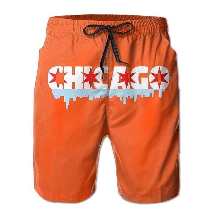 4032f934de JINYOUR Chicago Flag Building Men's Quick Dry Swim Trunks Beach Shorts  Boardshorts | Amazon.com