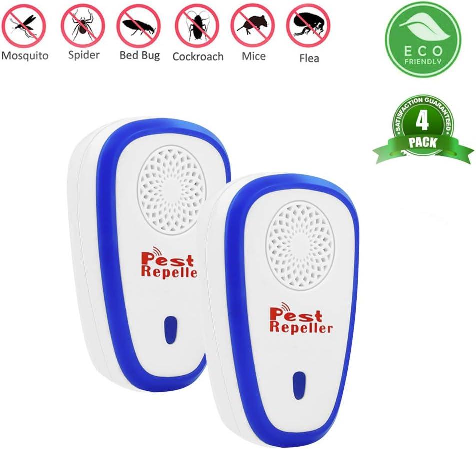BeauFlw Repelente Ultrasonico, Electrónico Repelente Mosquitos Insectos para Interiores Anti Cucarachas, Moscas, Mosquitos, Ratones, Arañas,100% Inofensivo para Mascotas y Humanos