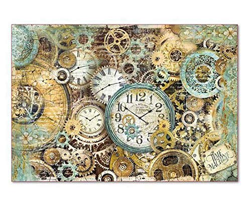 Decoupage Rice Papers Rice Paper Clock and Gears Hobby Colors Stamperia 48x33cm
