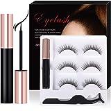 Magnetic Eyeliner With Magnetic Eyelashes Kit, 3 Pair Reusable False Lashes and Waterproof Magnetic Liquid Eyeliner Set…
