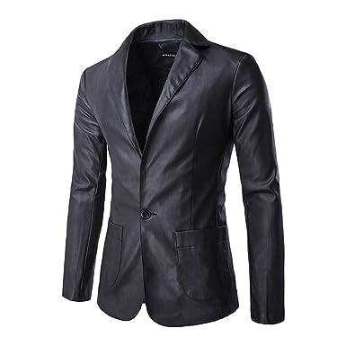 Veste Blazer Homme Cuir Un Bouton Costume Manteau Jacket Noir XL ... 423c1c1f409a