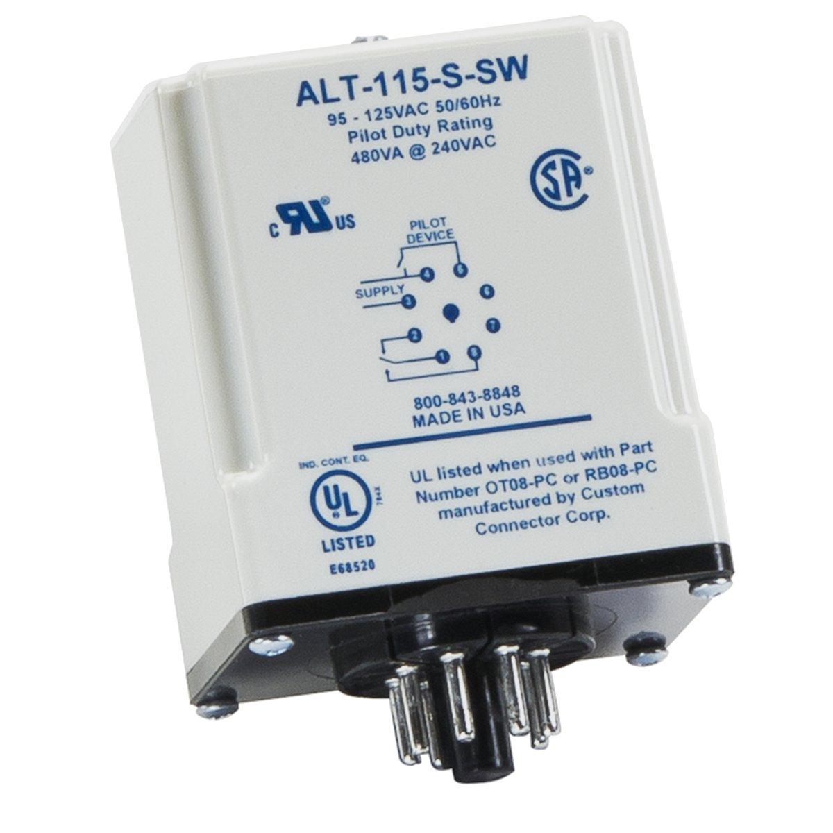 SymCom MotorSaver Alternating Relay with Switch, Model ALT115-S-SW, 95-125V, 8-Pin Octal Base by Symcom