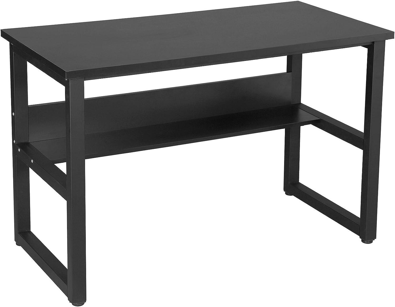 SONGMICS Bürotisch Computertisch mit Tastaturauszug Einem Unterschrank und 3 Schubladen PC Tisch MDF,Schwarz,121 x 60 x 76 cm LCD871B 6955880317776