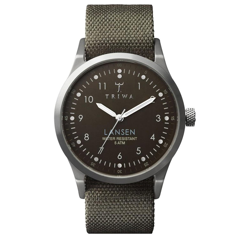 TRIWA Partisan Lansen Armbanduhr olivgrÜn-braun-grau LAST111_MO063212