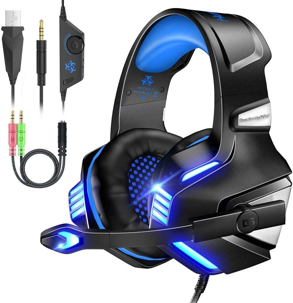VersionTECH. Stereo Gaming Headset PS4 Xbox One Headset, Wired PC Gamer Headphones with Noise Canceling Mic, LED Lights & in-Line Control for Xbox 1 S/X,Playstation 4, PC Mac Desktop Computer