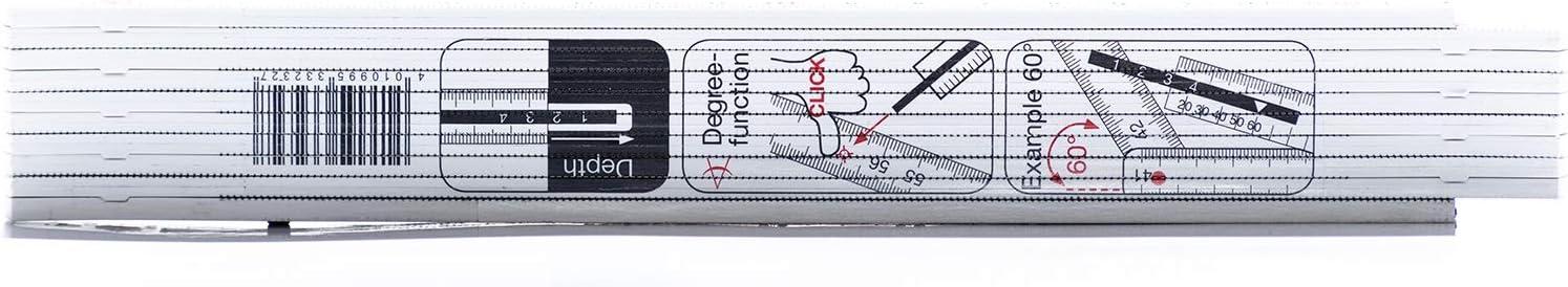 Kunststoff F/ür millimetergenau Innenma/ße Profi Zollstock mit Winkeleinteilung MyBauma