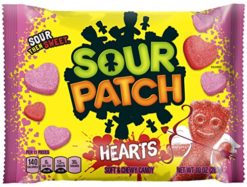 Sour Patch Sweet and Sour Gummy Candy, Valentine Hearts, 10 Ounce (Pack of 12)