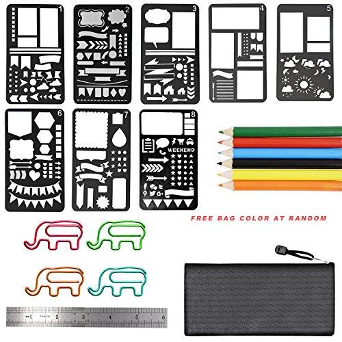 Mini Scrapbook Kit (8 pcs Journal Stencil Plastic Planner Stencils Journal/Notebook/Diary/Scrapbook DIY Drawing Template Stencil with 1 ruler,6pcs mini pen set ,8 pcs elephant paper clips and bag)