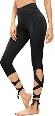 SweatyRocks Women Legging Cutout Tie Cuff Slim Yoga Pants Jogger Workout Tights