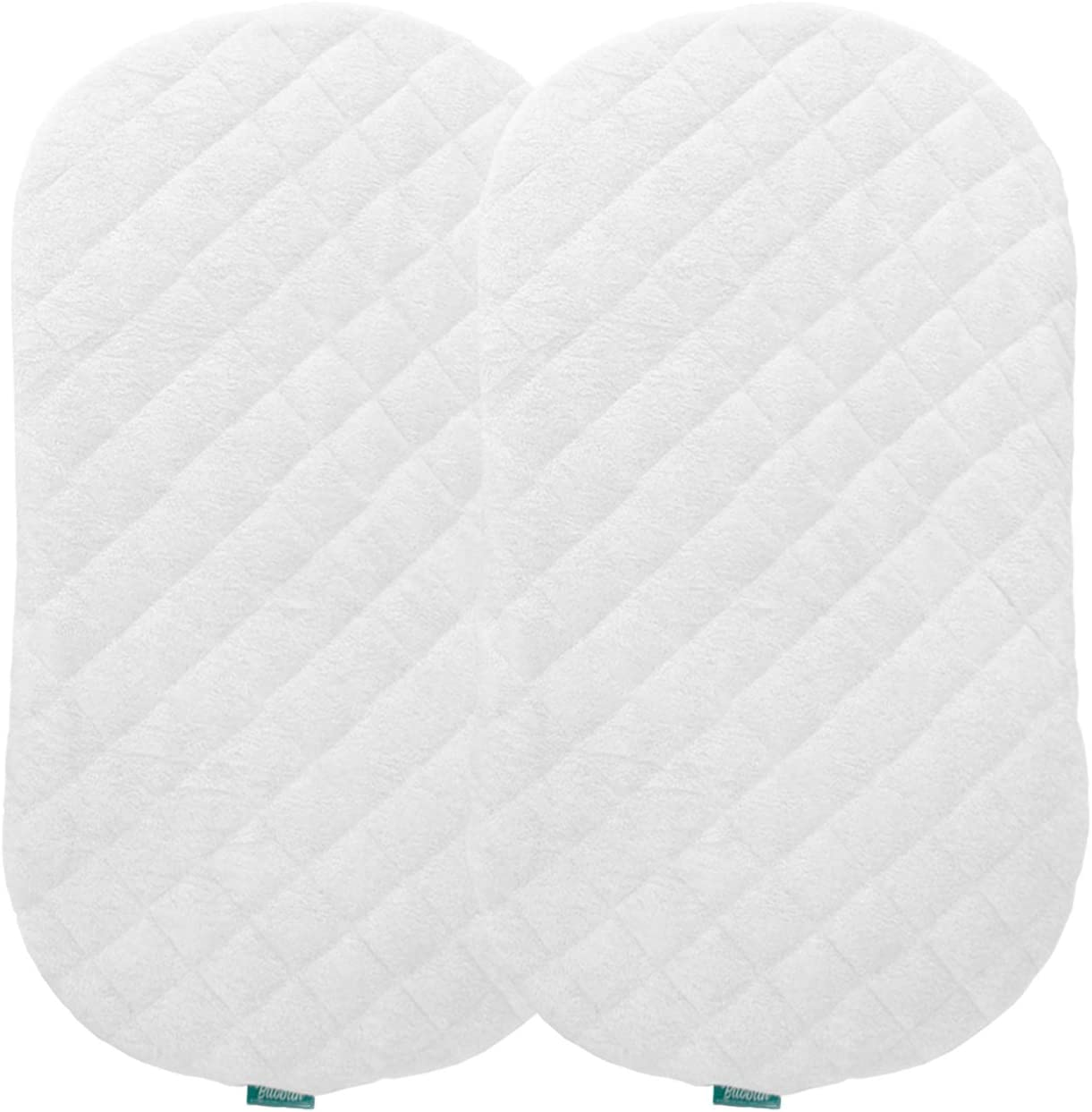 Bassinet Mattress Pad Cover Improved Style Waterproof Fit For Hourglass Oval Bassinet Mattress 2 Pack Ultra Soft Bamboo Fleece Surface Washer Dryer No Loosen And Pre Shrinked Baby