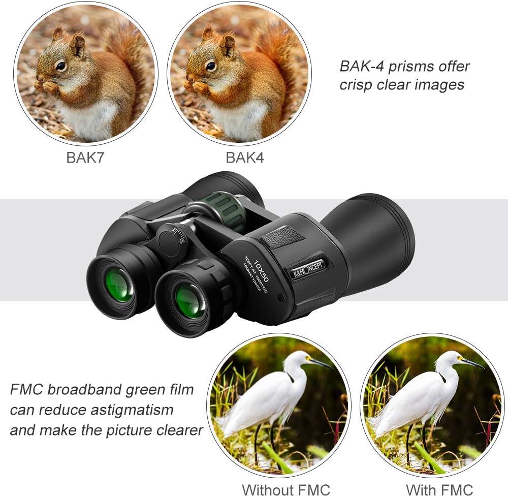 K/&F Concept Prism/áticos Binoculares Profesionales 10 x 50 HD con Gran Diametro Lentes para para Adultos Ideal para Caza Astronom/ía Observaci/ón de Aves y Camping Viejos y los usuarios con Gafas