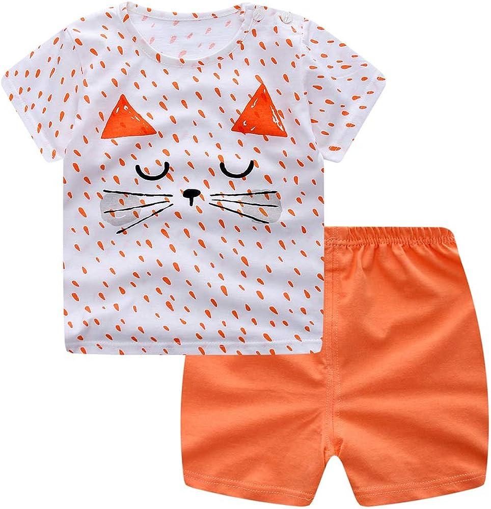 Treer Kinder Pyjamas Baumwolle Kurzarm Pajama Set Sommer Rundhals Schlafanz/üge Kinder Snug-Fit Zweiteiliger Baby Bekleidungsset Kleinkind Jungen M/ädchen Nachtw/äsche