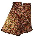 Decoraapparel Ankara Maxi High Waisted Swimsuit Bottom Long Wrap Pleated Vintage Skirt Beach Cover up (Gold Green P03)