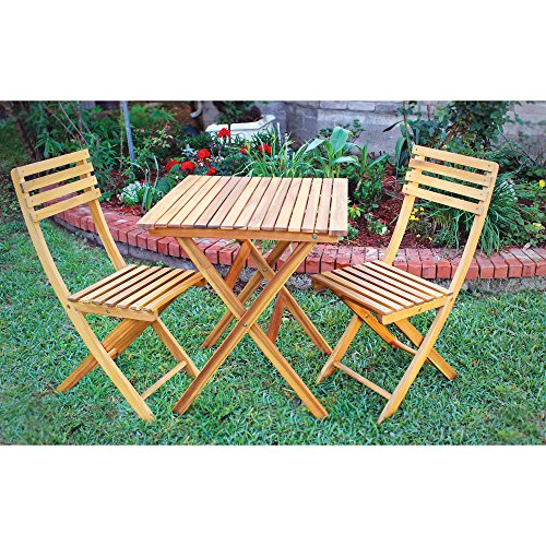 Kotulas 3-Pc. Folding Outdoor Acacia Hardwood Bistro Set — Table and 2 Chairs by Kotulas