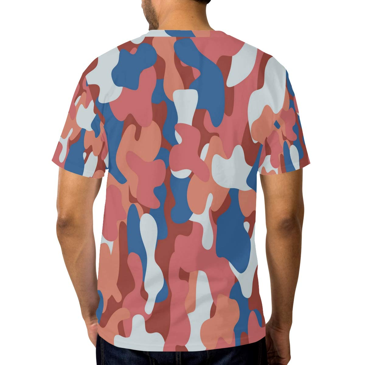 Horatiood Huberyyd Camo Orane White Blue Mens T Shirts Graphic Funny Body Print Short T-Shirt Unisex Pullover Blouse