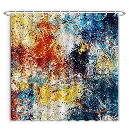 Unique Custom Shower Curtains Abstract Beautiful Blue Red And Yellow Bright Color Background Dynamic Painting Texture Modern Polyester Fabric Shower Curtain For Bathroom, 84 Inches Extra Wide