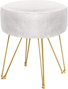 ERONE Round Footstool Ottoman Velvet Dressing Stool with Gold Metal Legs Upholstered Footrest,Makeup Chair Side Table for Kitchen Bedroom Living Room (Beige)