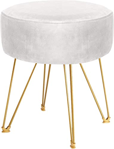 ERONE Round Footstool Ottoman Velvet Dressing Stool