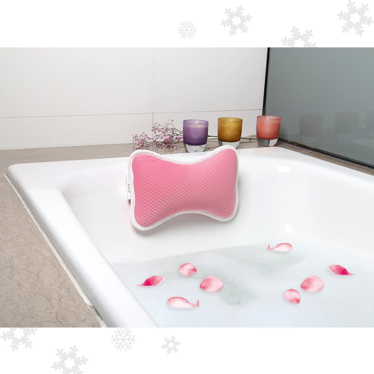 Bath Pillow Spa Pillow Anti Bacterial Luxurious Cushion, 2 Strong Suction Cups, Home Spa Non Slip Support for Bathtub, Antart