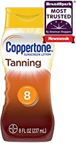 Coppertone Tanning Sunscreen Lotion Broad Spectrum SPF 8 (8 Fluid Ounce)