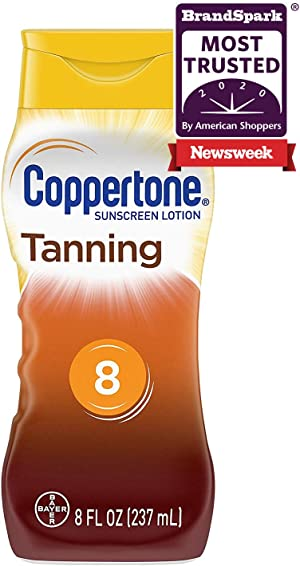 Coppertone Tanning Sunscreen Lotion Broad Spectrum SPF 8 (8 Fluid Ounce) (Packaging may vary)
