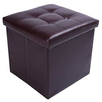 15u0026quot; Storage Ottoman Folding Stool,Collapsible Cube Faux Leather Coffee  Table,Foot Rest