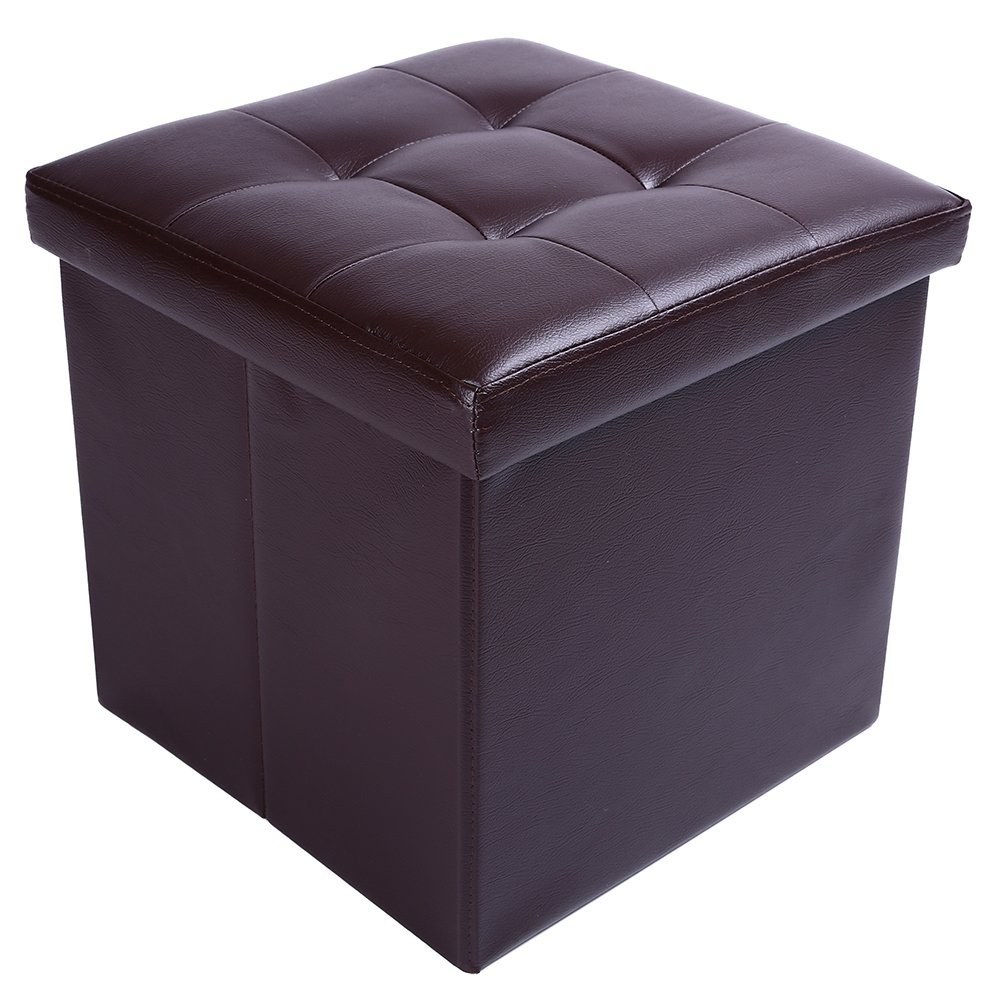 15'' Storage Ottoman Folding Stool,Collapsible Cube Faux Leather Coffee Table,Foot Rest Seat,Clutter Toys Collection Brown