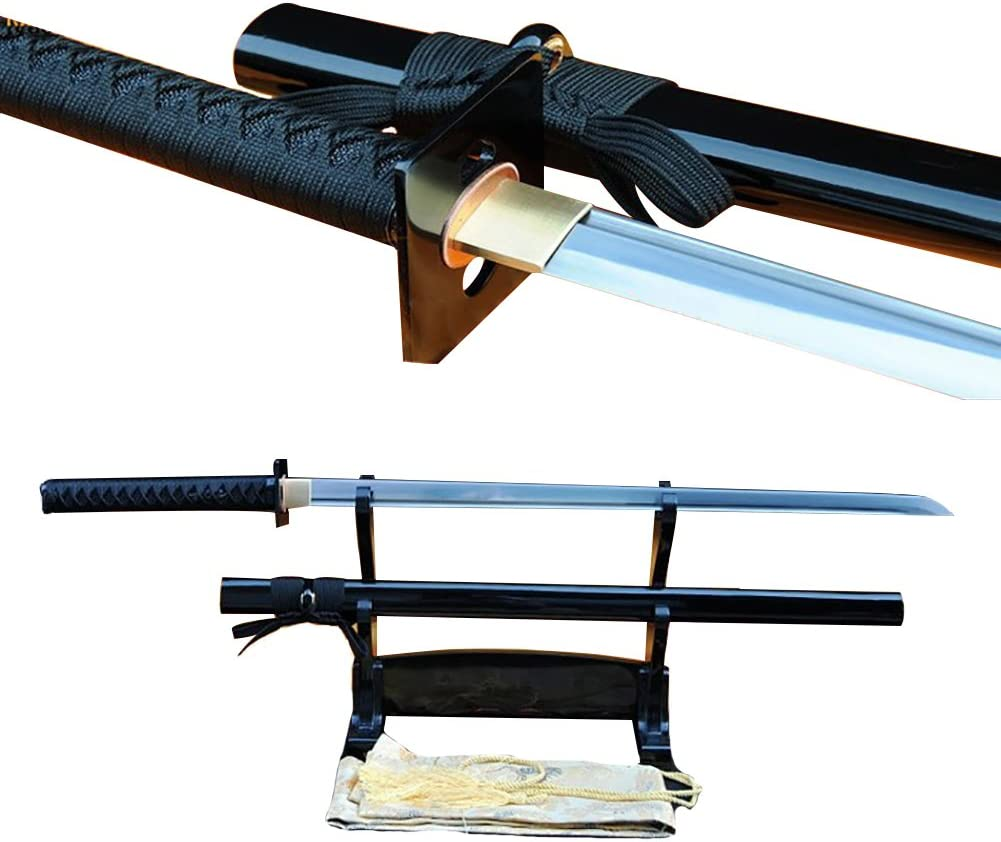 Lyuesword Japanese Handmade Samurai Folded Steel Full Tang Ninja Sword Battle Ready