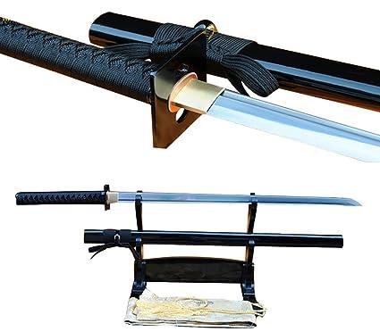 Lyuesword Japanese Handmade Samurai Folded Steel Full Tang Ninja Sword Battle Ready