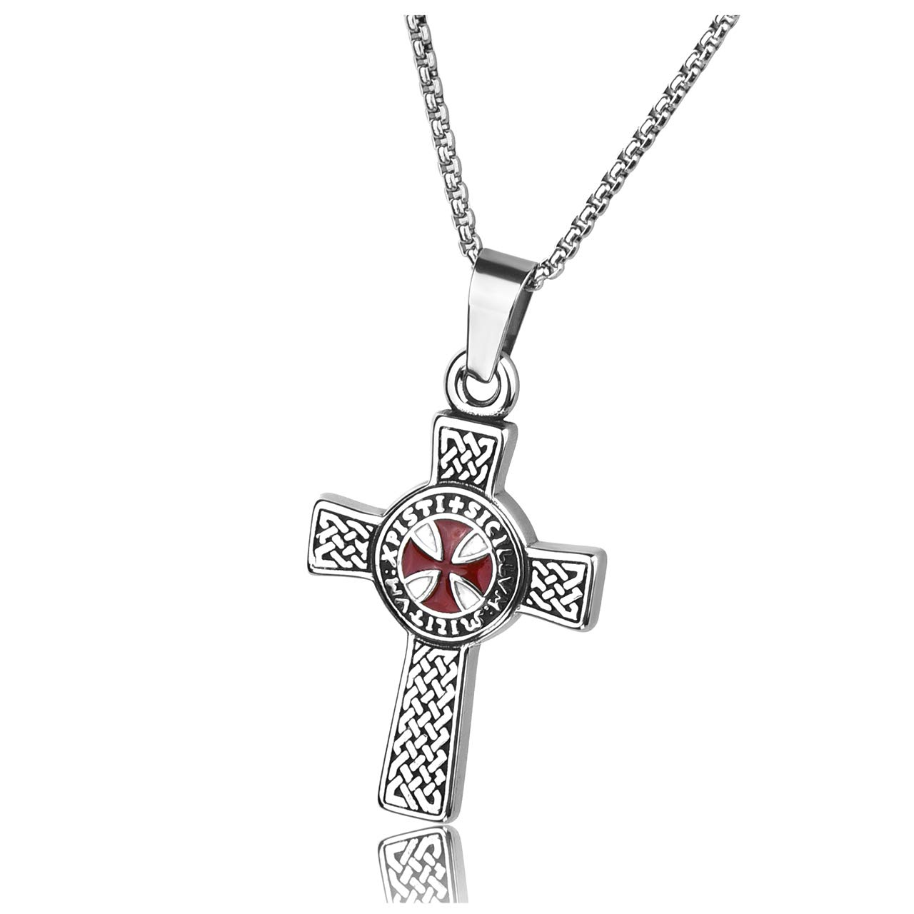 Zysta Boys Stainless Steel Knights Templar Cross Sturdy Pendant Necklace with 24 Inches Box Chain Link