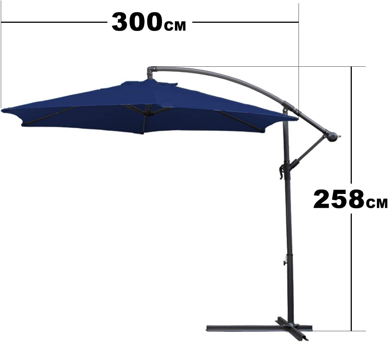 Hengda Ø 300 cm Sombrilla con Manivela Parasol Excéntrico de Jardín, Mástil de Aluminio con Manivela, Protección UV40+ Altura Ajustable Incl. Soporte de Cruz-Azul: Amazon.es: Jardín