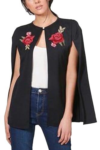 La Mujer Alta Slit Bordado Boton Frontal Abierto Cardigans Chaqueta Outwear