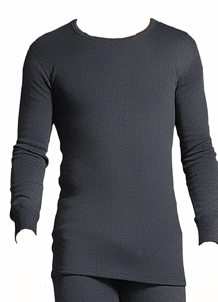 1 Mens GENUINE Original Thermal Winter Warm Tog Heat Holders Long Sleeve Vest/T-Shirt Top - CHARCOAL- available in Small, Medium, Large, Extra Large, Extra Extra Large