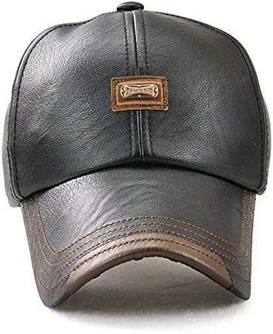 JAMONT Plain Leather Baseball Cap with Adjustable Strap for Men ...