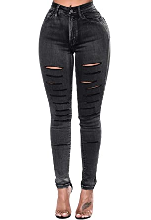 1fcbd03a585756 GOSOPIN Women High Waist Destroyed Ripped Skinny Distressed Denim Jeans  Small 018 Black