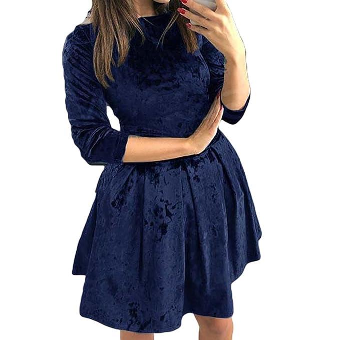 Damen Vintage Kleid, Elegant Runde Kragen Tunika Einfarbig Samtkleid ...