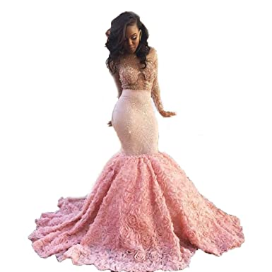 Tsbridal Prom Dresses Mermaid Open Back Long Sleeves Prom Evening DressesPink-US2