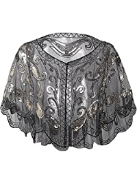 BABEYOND 1920s Shawl Wraps Sequin Beaded Evening Cape Bridal Shawl Bolero Flapper Cover Up (Black)