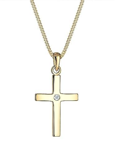 Goldkette mit kreuz 585  Diamore Damen-Kette mit Anhänger Kreuz 585 Gelbgold Diamant (0,02 ...