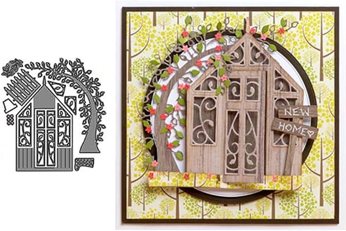 Cabin House Tree Metal Cutting Dies DIY Scrapbooking Embossing Paper Cards Craft Silver yanQxIzbiu Cutting Die