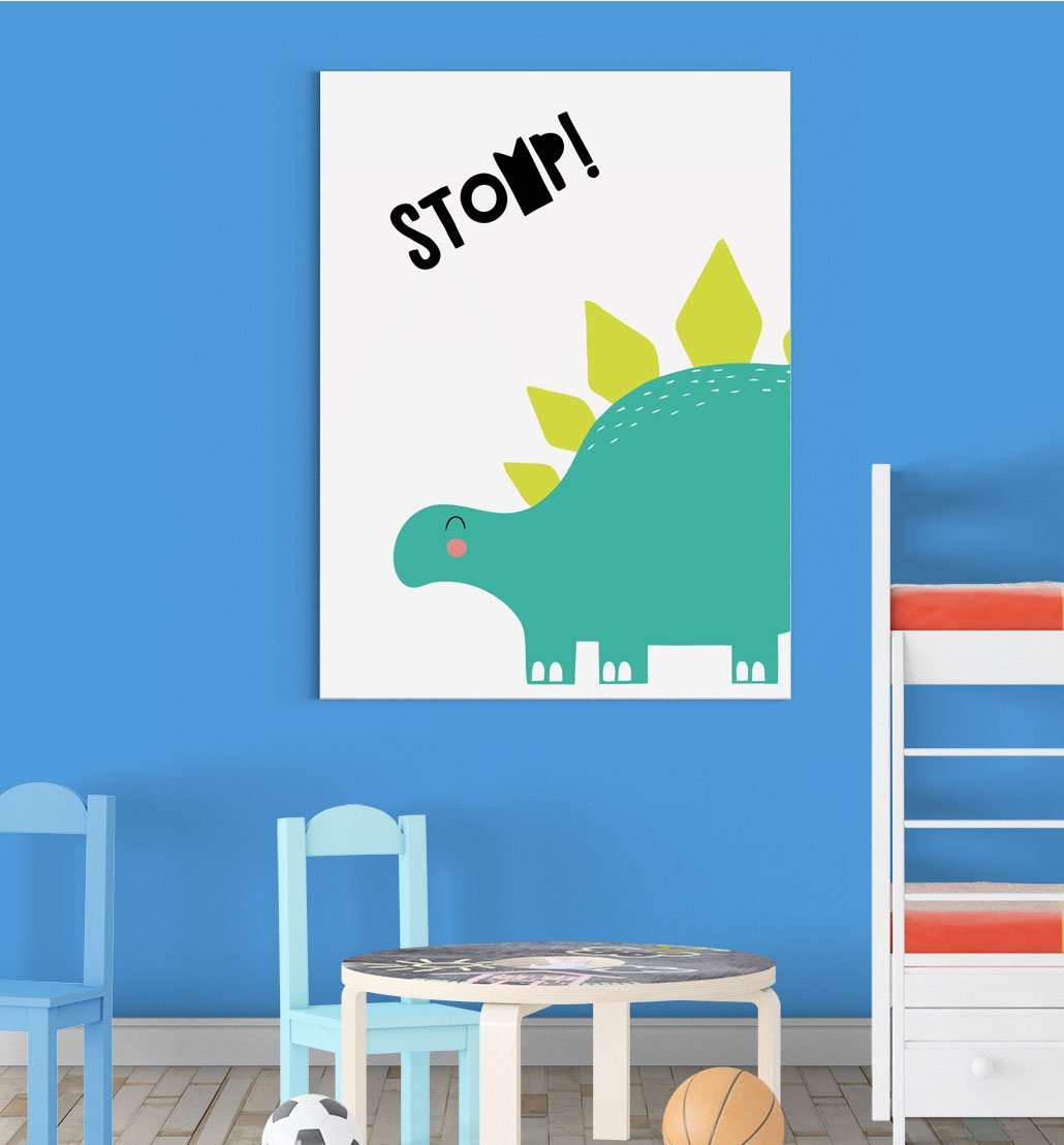 Cute Dinosaur Stomp Scandinavian Animal Nursery Wall Decor Art Poster Print Inspired Walls®