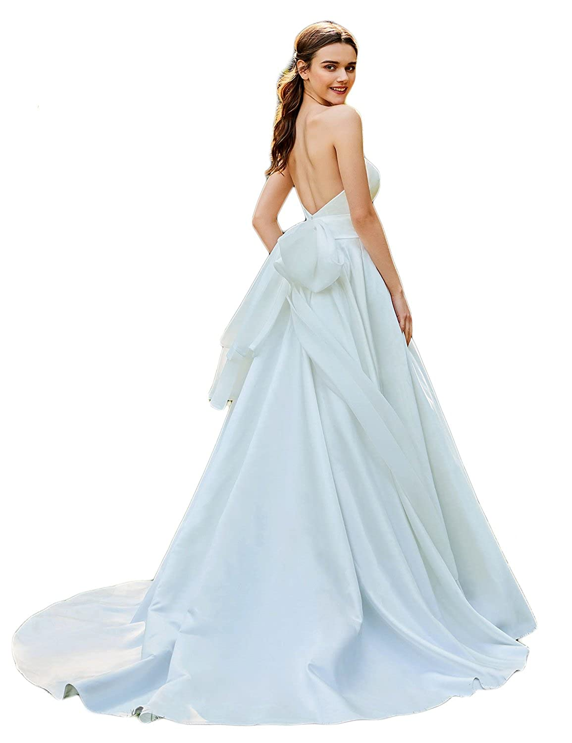 Elinadress Womens Strapless Satin Wedding Dress With Bowknot Long A