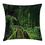 Queen Area Jungle Decor Fresh Tropical Thailand Forest Wooden Bridge Foliage Meditation Calm Landscape Square Throw Pillow Covers Cushion Case Sofa Bedroom Car 18x18 inch, Green