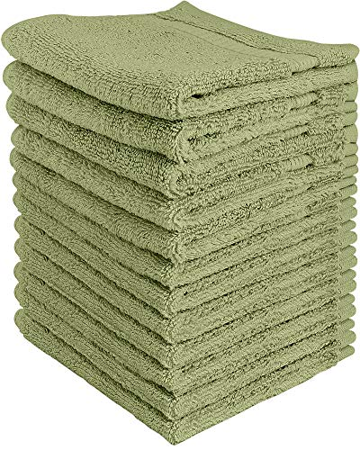 Utopia Towels 600 GSM Washcloths, 12 Pack, Sage Green