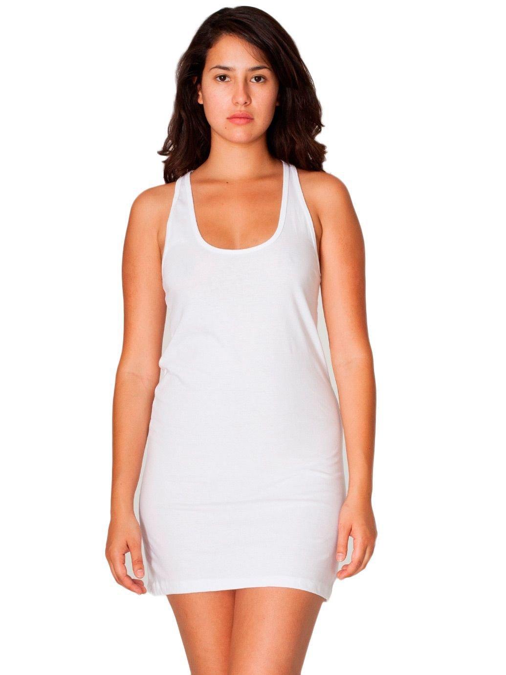 American Apparel Women's Fine Jersey Racerback Tank Mini Dress Size M White