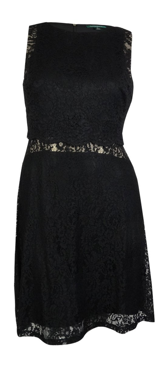 Lauren Ralph Lauren Illusion Nude Lace Dress Womens Sheath Black 4